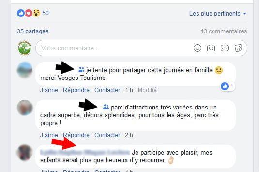 commentaires amis et public sur facebook